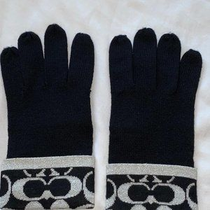 COACH Logo C Shimmer Wool Gloves Black